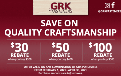 GRK Fasteners Exclusive Rebate Offer!